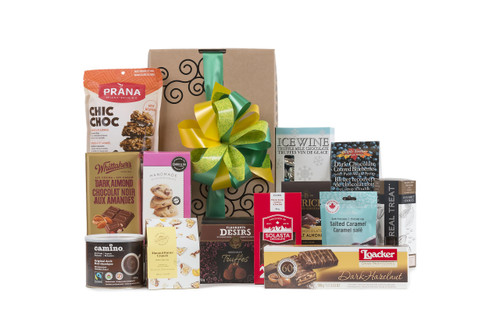 Gourmet gift basket featuring just the chocolate! Cookies, chocolate bar, truffles, etc., packaged in signature Green & Green gift box with ribbon and bow.