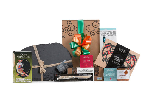 Local products  with Slate Cheese Board By Corrine Hunt & Eagle Cheese Knife wrapped in Green & Green signature Gift Box with ribbon and bow.