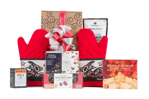 Gift box with local food items and Oven Mitt with Raven design by Bill Helin.