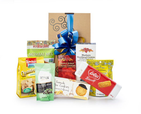 Gourmet gift basket featuring cookie and snacks packaged in signature Green & Green gift box with ribbon and bow.