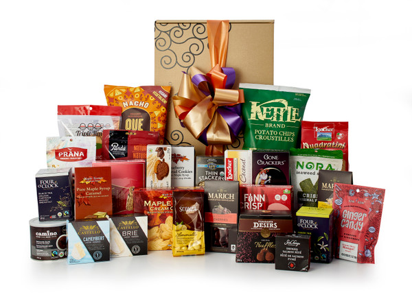 Gourmet gift basket featuring sweet and savoury snacks (chocolate, cookies, crackers, nuts, etc.) packaged in signature Green & Green gift box with orange and green ribbon and bow.