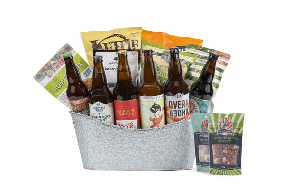 Beer basket containing six handpicked 650mL local beer paired with savory snacks.
