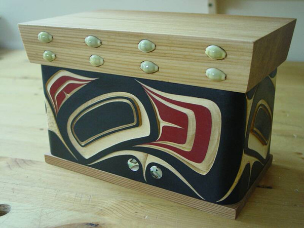 Hand Carved Bent Cedar Box - Northwest Coast Native Art - Eagle