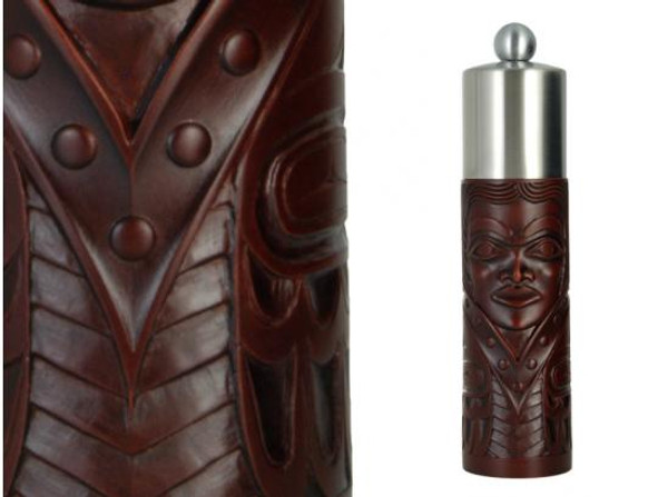 Red-brown recycled glass grinder with West Coast First Nations princess design.