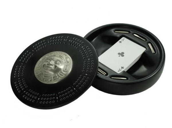 Round black marble crib board with West Coast First Nations' moon design pewter inlay.