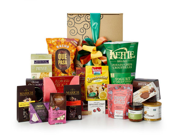 Gourmet gift basket featuring sweet and savoury snacks (chocolate, cookies, chips, crackers, nuts, etc.) packaged in signature Green & Green gift box with green and orange ribbon and bow.