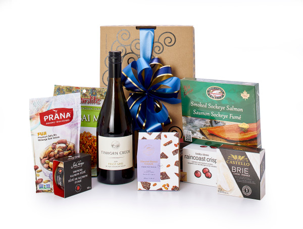 Gourmet gift basket featuring •Tinhorn Creek Pinot Gris, and BC local savoury snacks (crackers, cheese, smoked salmon, etc.) packaged in signature Green & Green gift box with ribbon and bow.