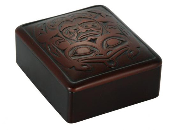 Square box with West Coast First Nations' frog design by K. Tait.