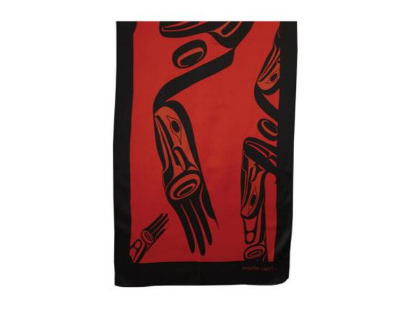 Red and charcoal satin silk scarf with First Nations' design.