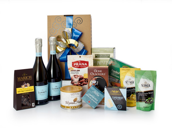 Gourmet gift basket featuring 2 bottles of La Marca prosecco, and sweet and savoury snacks (chocolate, crackers, nuts, etc.), packaged in signature Green & Green gift box with ribbon and bow.