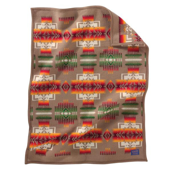 Pendleton blanket with Chief Joseph print in khaki and red.