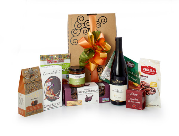 Gourmet gift basket featuring Mission Hill Reserve Pinot Noir , BC local snacks (chocolate, crackers, smoked salmon, etc.) packaged in signature Green & Green gift box with ribbon and bow.