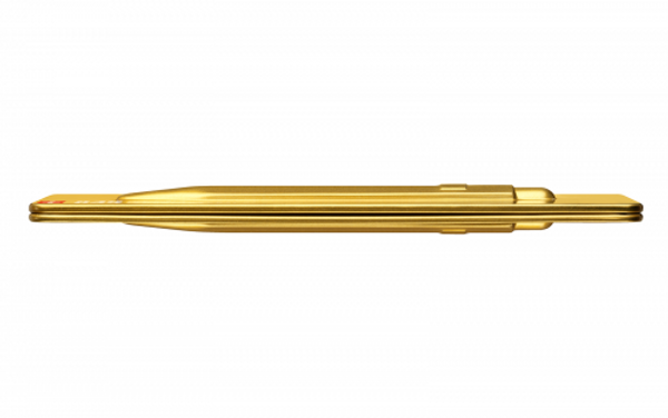 Gold pen in pen case, side view showing thinness of case.