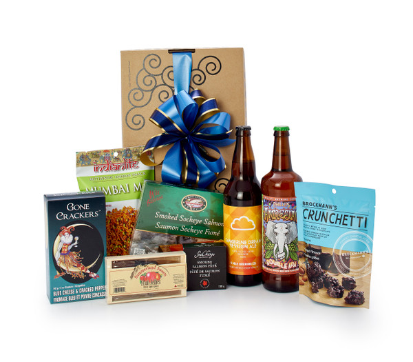 Gourmet gift basket featuring two 650mL bottles of BC local beer, and BC local snacks (crackers, chocolate, etc.) packaged in signature Green & Green gift box with ribbon and bow.