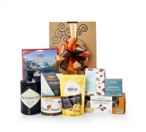 Gourmet gift basket featuring  Hendrick's Gin, and gourmets snacks, packaged in signature Green & Green gift box with ribbon and bow.