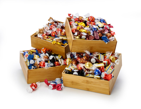 Chocolate Truffles in Stackable Bamboo Boxes - Power of 4 (Un-stacked)