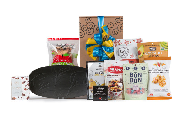 """Local products wrapped with 14"""" Sea to Sky Collection Platter wrapped in Green & Green signature gift box."""