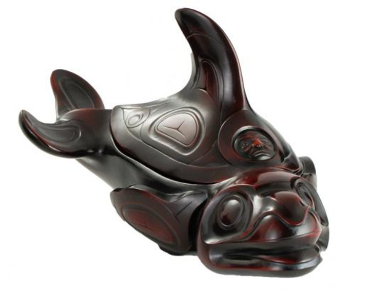 Rosewood spirit box carved in West Coast First Nations orca (killer whale) design.