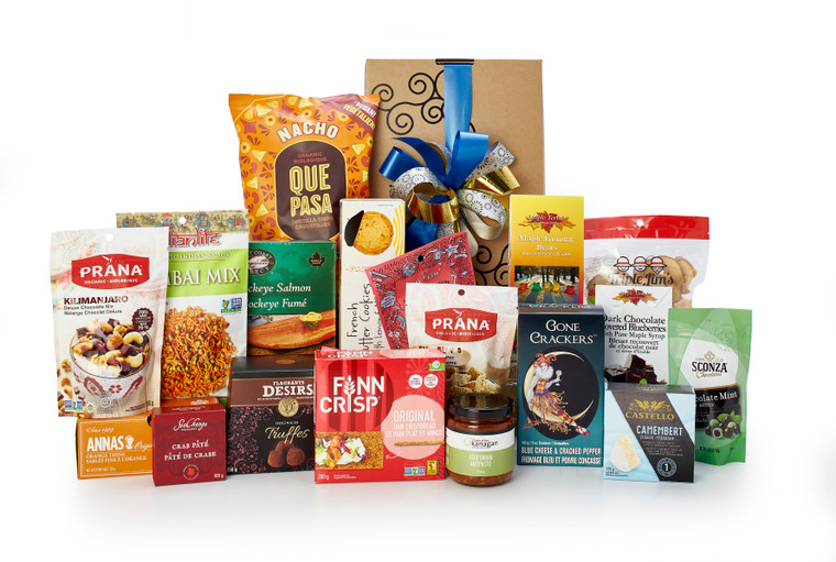 Gourmet gift basket featuring sweet and savory snacks (chocolate, cookies, crackers, nuts, etc.) packaged in signature Green & Green gift box with ribbon and bow.