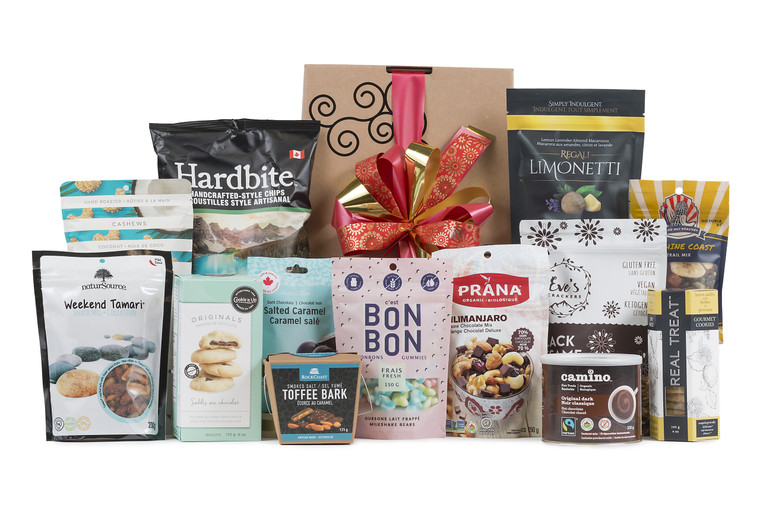 Sweet and savory items from Canada wrapped in Green & Green signature gift box.  Canadian Roadtrip