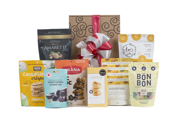 Gluten-free snacks wrapped in Green & Green signature gift box. Local products