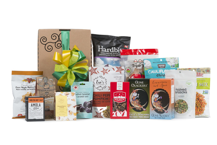Gourmet gift basket featuring local products from Lower Mainland, packaged in signature Green & Green gift box with ribbon and bow.