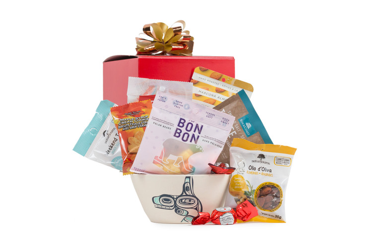 Gift box with local snack items and bamboo bowl with Whale design.
