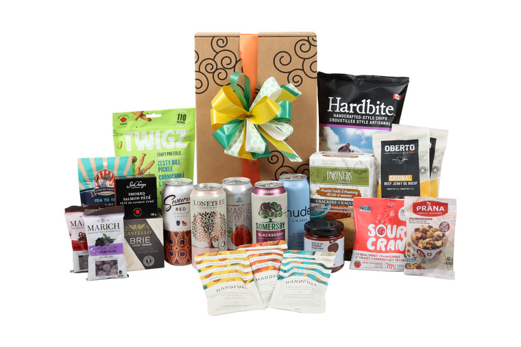 Gourmet gift basket featuring assorted cocktail beverages (Vodka, Gin, Cider, Rose) paired with sweet and savoury snacks (chocolate, crackers, nuts, etc.), packaged in signature Green & Green gift box with ribbon and bow.
