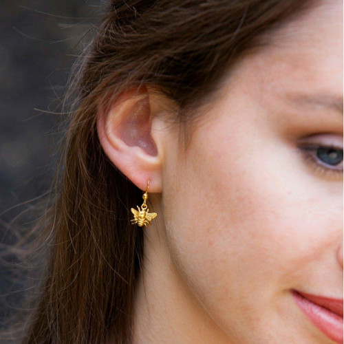 LILY BLANCHE Gold Bee Earrings modelled