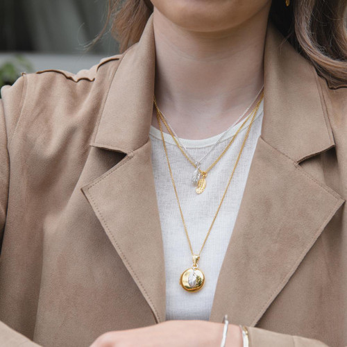 LILY BLANCHE Gold Feather Picture Locket modelled