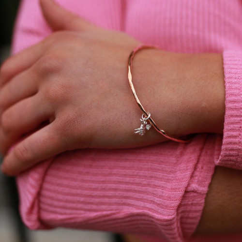 Lily Blanche bee bangle rose gold modelled