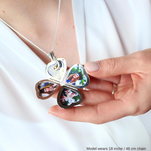 Lily Blanche Four Photo Charm Locket silver modelled