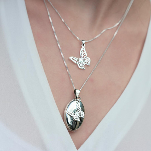 Lily Blanche Oval Butterfly Locket White Gold modelled