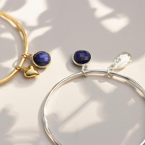 Sapphire Charm Bangle Silver | Feather