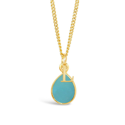 Aqua Chalcedony Charm Necklace | Gold / March