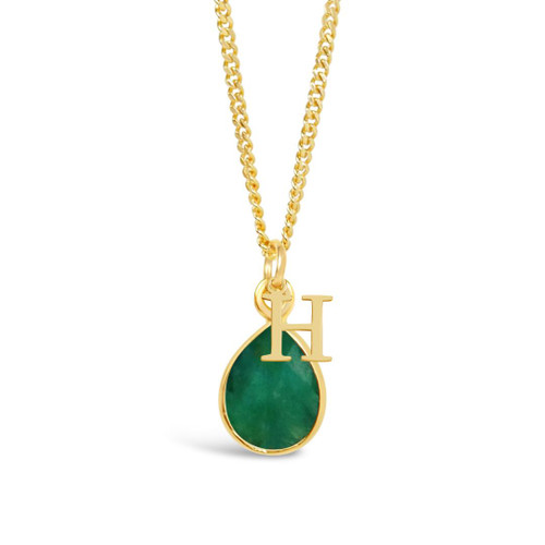 Emerald Charm Necklace | Gold / May