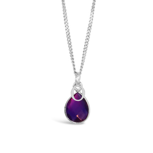 Amethyst Charm Necklace | Silver / February