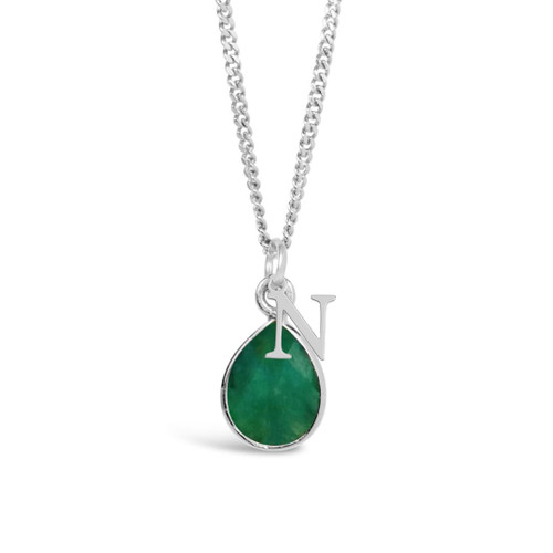 Emerald Charm Necklace   Silver / May