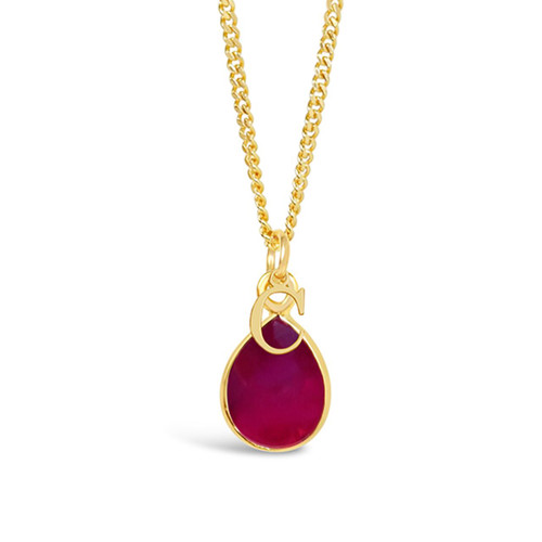 Ruby Charm Necklace | Gold / July