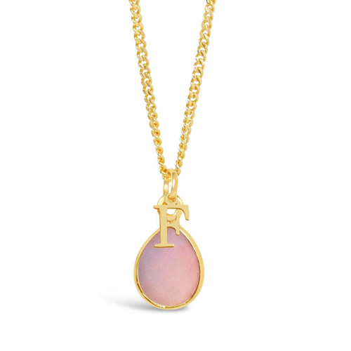 Pink Opal Charm Necklace   Gold / October