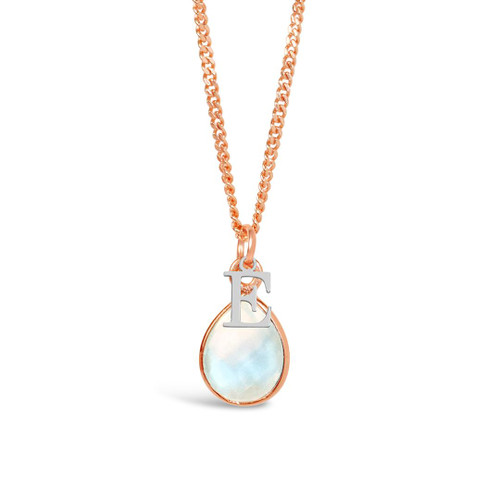 Moonstone Charm Necklace   Rose Gold / June