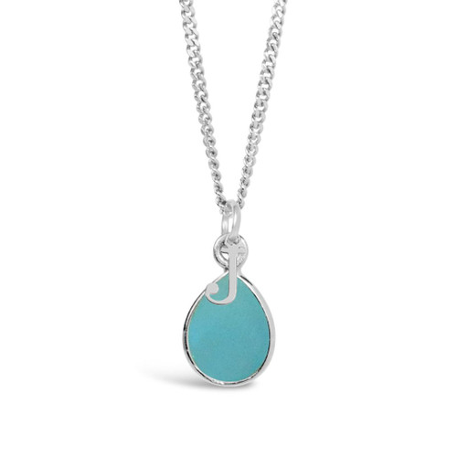 Aqua Chalcedony Charm Necklace | Silver / March