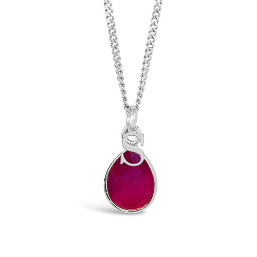 Ruby Charm Necklace | Silver / July