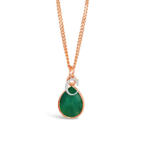Emerald Charm Necklace | Rose Gold / May