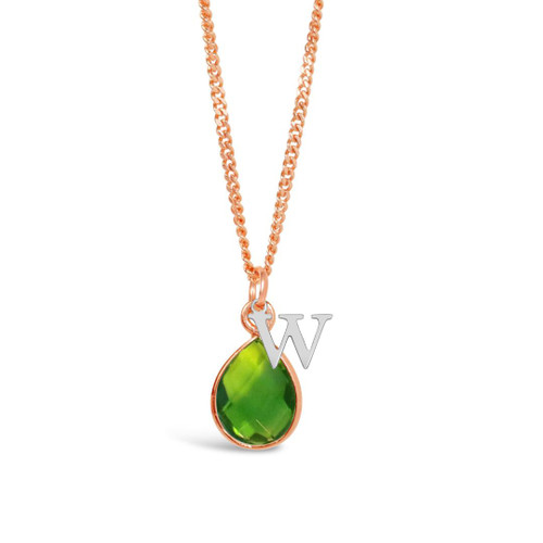 Peridot Charm Necklace | Rose Gold/ August