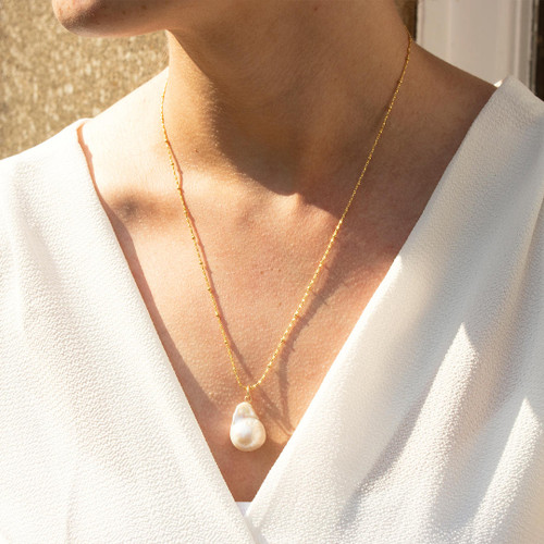 Baroque Pearl Necklace | Ivory / Gold