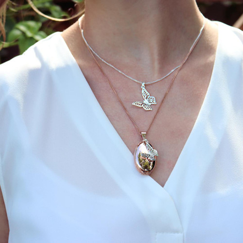 Four Photo Oval Butterfly Locket | Rose Gold