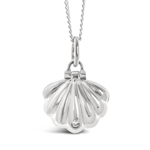 silver shell magical charm necklace