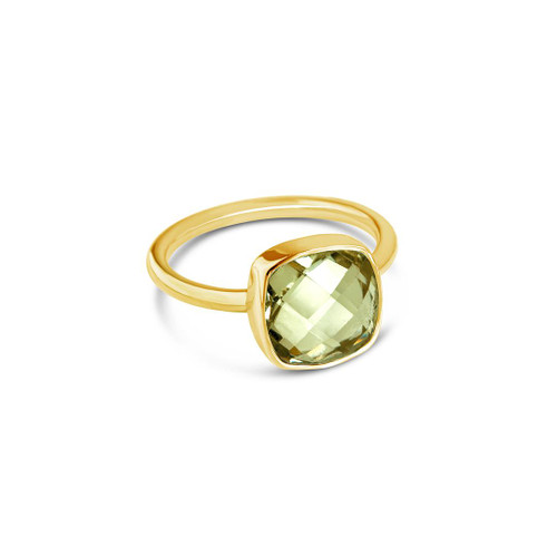 Green Amethyst Cocktail Ring | Gold