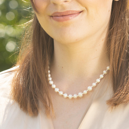 Sterling Pearl Necklace | Ivory